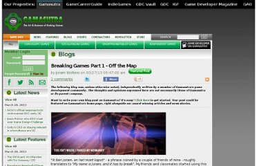 http://www.gamasutra.com/blogs/JoramWolters/20130327/189413/Breaking_Games_Part_1__Off_the_Map.php