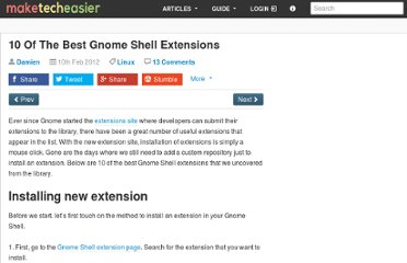 http://www.maketecheasier.com/10-of-the-best-gnome-shell-extensions/2012/02/10