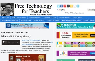 http://www.freetech4teachers.com/2011/04/who-am-i-history-mystery.html#.UVUMa9F-P0M