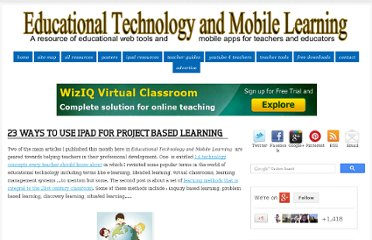 http://www.educatorstechnology.com/2013/03/23-ways-to-use-ipad-for-project-based.html