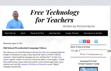 http://www.freetech4teachers.com/2012/08/old-school-presidential-campaign-videos.html#.UVUrHtF-P0N