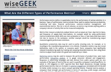 http://www.wisegeek.com/what-are-the-different-types-of-performance-metrics.htm#did-you-know
