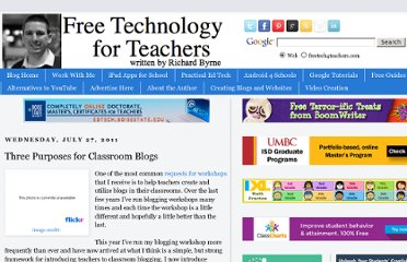 http://www.freetech4teachers.com/2011/07/three-purposes-for-classroom-blogs.html#.UVV0utF-P0M