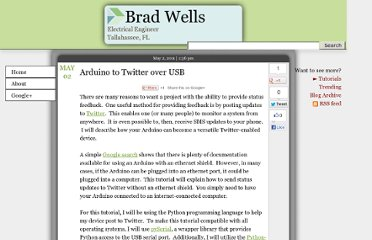 http://blog.wellsb.com/post/5135881420/arduino-to-twitter-over-usb