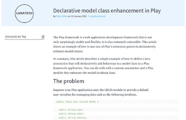 http://blog.lunatech.com/2011/01/11/declarative-model-class-enhancement-play