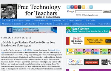 http://www.freetech4teachers.com/2012/08/7-mobile-apps-students-can-use-to-never.html#.UVV899F-P0M