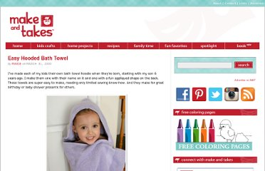 http://www.makeandtakes.com/easy-hooded-bath-towel