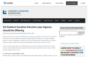 http://www.contentcurationmarketing.com/10-content-curation-services-your-agency-should-be-offering/