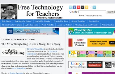 http://www.freetech4teachers.com/2010/10/art-of-storytelling-hear-story-tell.html#.UVatv9F-P0M