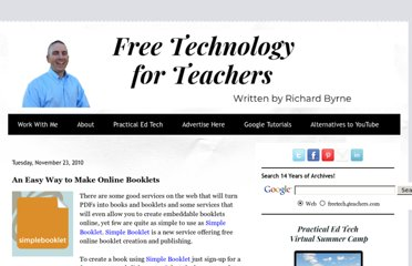 http://www.freetech4teachers.com/2010/11/easy-way-to-make-online-flipbooks.html#.UVbeYNF-P0M