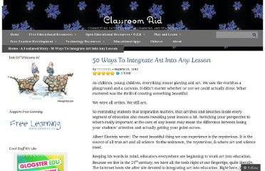 http://classroom-aid.com/2013/03/22/50-ways-to-integrate-art-into-any-lesson/