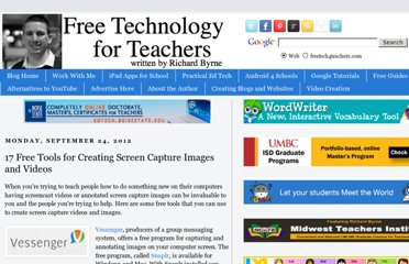 http://www.freetech4teachers.com/2012/09/17-free-tools-for-creating-screen.html#.UVcoYNF-P0M