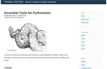 http://www.rdegges.com/essential-tools-for-pythonistas/