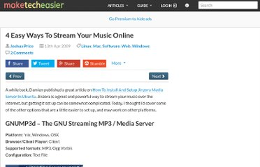 http://www.maketecheasier.com/4-easy-ways-to-stream-your-music-online/2009/04/13