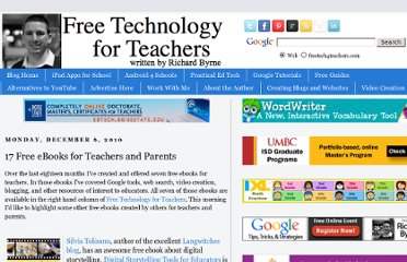 http://www.freetech4teachers.com/2010/12/17-free-ebooks-for-teachers-and-parents.html#.UVc90dF-P0M