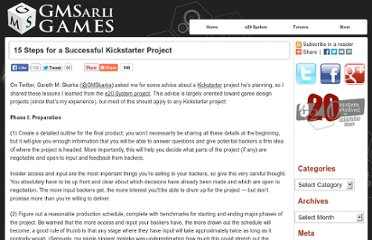 http://www.gmsarligames.com/2011/05/18/15-steps-for-a-successful-kickstarter-project/#.UVdFEtF-P0N