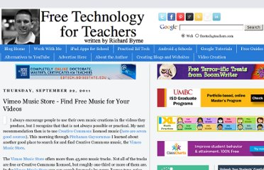 http://www.freetech4teachers.com/2011/09/vimeo-music-store-find-free-music-for.html#.UVdur9F-P0M