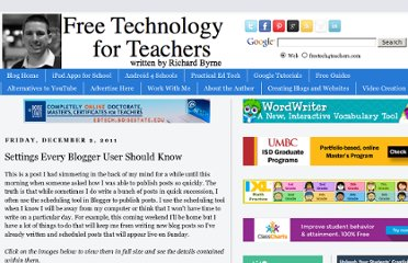 http://www.freetech4teachers.com/2011/12/settings-every-blogger-user-should-know.html#.UVdvm9F-P0M