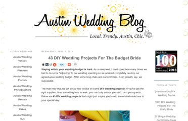 http://www.austinweddingblog.com/2010/06/43-diy-wedding-projects-for-budget.html#.UVeGkdF-P0N
