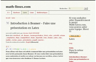 http://www.math-linux.com/Latex/Introduction-a-Beamer-Faire-une