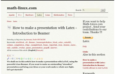 http://www.math-linux.com/latex-26/How-to-make-a-presentation-with