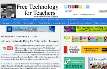 http://www.freetech4teachers.com/2010/09/47-alternatives-to-using-youtube-in.html#.UVfPL9GI70M