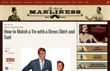 http://www.artofmanliness.com/2011/04/26/match-tie-with-shirt-suit/