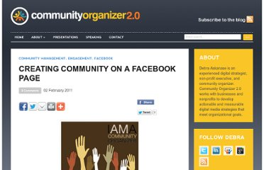 http://communityorganizer20.com/2011/02/02/creating-community-on-a-facebook-page/