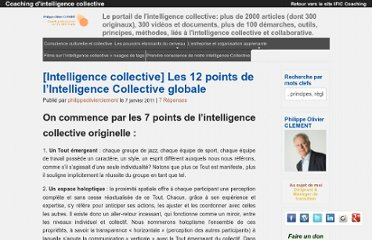 http://blog.ific-coaching.com/2011/01/07/les-12-points-de-lintelligence-collective-globale/