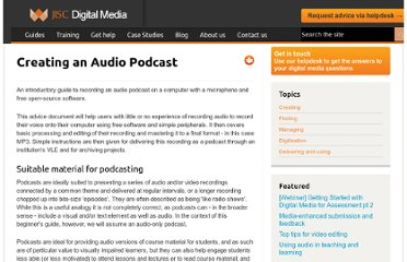 http://www.jiscdigitalmedia.ac.uk/guide/creating-an-audio-podcast