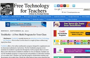 http://www.freetech4teachers.com/2011/09/tenmarks-free-math-program-for-your.html#.UVgXodGI70M