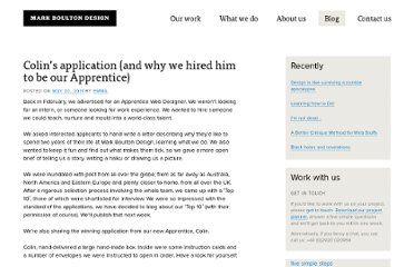 http://markboultondesign.com/blog/colins-application-and-why-we-hired-him-to-be-our-apprentice/