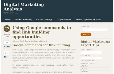 http://www.cleverseo.net/google-commands/using-google-commands-to-find-link-building-opportunities/
