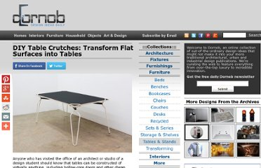 http://dornob.com/diy-table-crutches-transform-flat-surfaces-into-tables/#axzz2P3JEa9hR
