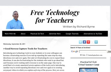 http://www.freetech4teachers.com/2011/09/7-good-screen-capture-tools-for.html#.UVhY9tGI70M