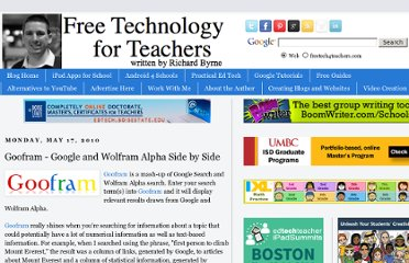http://www.freetech4teachers.com/2010/05/goofram-google-and-wolfram-alpha-side.html#.UVhkN9GI70M
