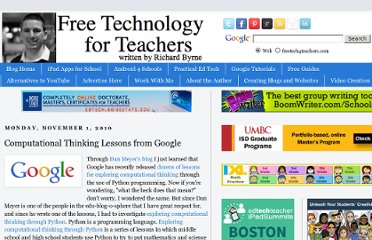 http://www.freetech4teachers.com/2010/11/computational-thinking-lessons-from.html#.UVhnL9GI70M