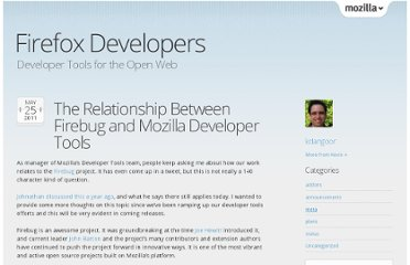 https://blog.mozilla.org/devtools/2011/05/25/the-relationship-between-firebug-and-mozilla-developer-tools/
