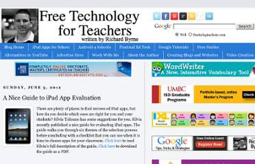http://www.freetech4teachers.com/2012/06/nice-guide-to-ipad-app-evaluation.html#.UVh_r9GI70N