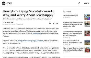 http://abcnews.go.com/Technology/honey-bees-dying-scientists-suspect-pesticides-disease-worry/story?id=10191391#.UVihVNGI70M
