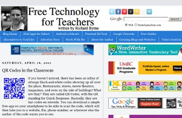http://www.freetech4teachers.com/2011/04/qr-codes-in-classroom.html#.UVi57NGI70M