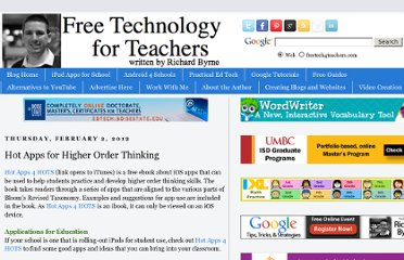 http://www.freetech4teachers.com/2012/02/hot-apps-for-higher-order-thinking.html#.UVi_pdGI70M