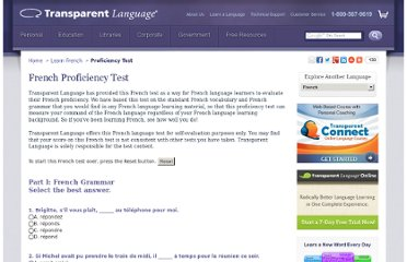 http://www.transparent.com/learn-french/proficiency-test.html#.UVjHAdGI70M