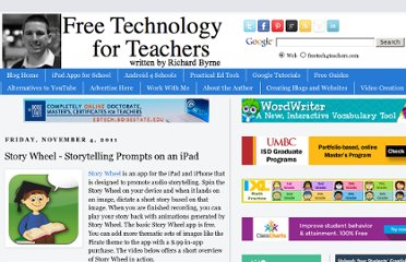 http://www.freetech4teachers.com/2011/11/story-wheel-images-to-prompt.html#.UVjT6NGI70M