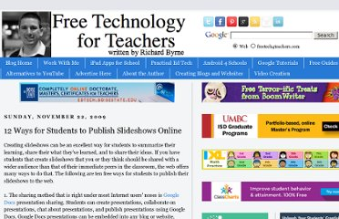 http://www.freetech4teachers.com/2009/11/12-ways-for-students-to-publish.html#.UVkFPtGI70M