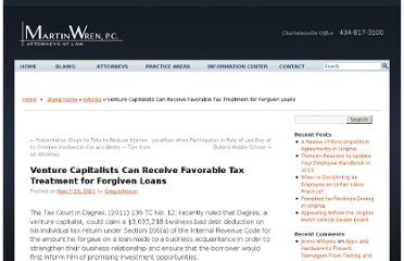 http://martinwrenlaw.com/wordpress/venture-capitalists-can-receive-favorable-tax-treatment-for-forgiven-loans/