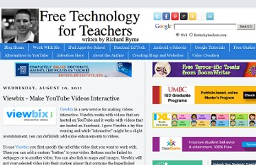 http://www.freetech4teachers.com/2011/08/viewbix-make-youtube-videos-interactive.html#.UVkW_NGI70M