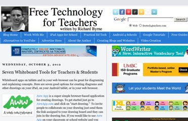 http://www.freetech4teachers.com/2012/10/seven-whiteboard-tools-for-teachers.html#.UVkfD9GI70N