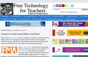 http://www.freetech4teachers.com/2012/06/5-sources-of-free-sound-effects-and.html#.UVkkG9GI70M