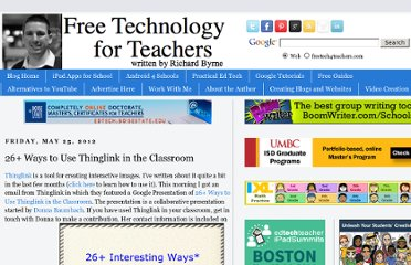 http://www.freetech4teachers.com/2012/05/26-ways-to-use-thinglink-in-classroom.html#.UVklO9GI70N